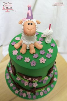 Tarta obejita fondant- sheep fondant cake www.tartasdelunallena.blogspot.com