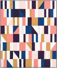 Sidewalk Chalk quilt pattern by Meghan Buchanan of Then Came June modern geometric quilt pattern includes 3 size options Quilting Projects, Sewing Projects, Quilting Ideas, Sewing Ideas, Geometric Quilt, Quilt Modernen, Quilting For Beginners, Beginner Quilting, Sidewalk Chalk