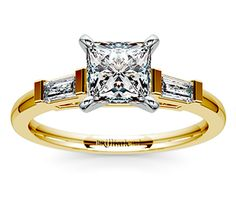 Princess Baguette Diamond Engagement Ring in Yellow Gold  http://www.brilliance.com/engagement-rings/baguette-diamond-ring-yellow-gold-1/3-ctw