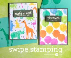 Swipe stamping technique by Jennifer McGuire featuring Hero Arts Birthday Animals Silhouettes