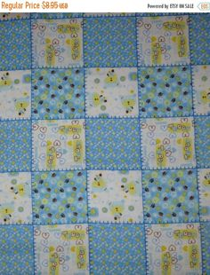 50% OFF SALE Flannel Fabric,Cotton FAbric, Quilt Fabric, David Textiles, Blue, Yellow and White Squares, Fast Shipping FL124