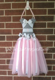 Bow holder , Pink, Gray and White Tutu Hair Bow Holder. $39.99, via Etsy.