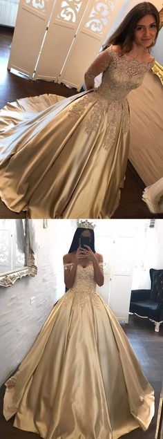 elegant champagne prom party dresses with appliques, fashion formal gowns, chic off shoulder evening dresses.