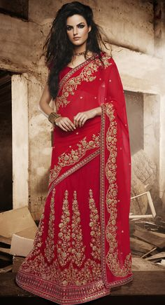USD 139.43 Red Faux Georgette Wedding Lehenga Saree 44171