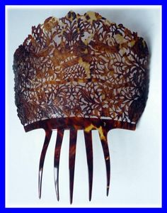 REAL TORTOISE SHELL MANTILLA HAIR COMB -