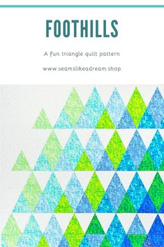 A fun, easy to sew triangle quilt pattern from Kate Colleran and Seams Like A Dream. The drama is all in the color placement! Quilt uses 9 fabrics plus a background to create the drama! 3 Sizes: x Crib quilt x Youth quilt x Lap quilt Triangle Quilt Pattern, Triangle Quilts, Quilt Patterns, Knitting Patterns, One Color, Quilting Designs, Free Pattern, Rainbow, Crib