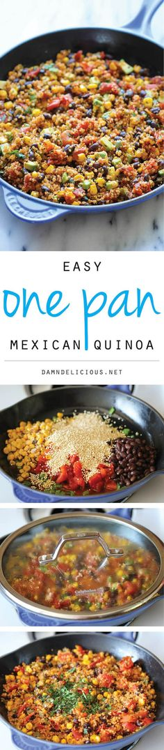One Pan Mexican Quinoa - Wonderfully light, healthy and nutritious. And it's so easy to make - even the quinoa is cooked right in the pan! Wonderfully light, healthy and nutritious. And it's so easy to make – even the quinoa is cooked right in the pan! Mexican Food Recipes, Whole Food Recipes, Vegetarian Recipes, Dinner Recipes, Healthy Recipes, Vegetarian Quinoa Recipes, Indian Recipes, Healthy Meals, Vegetarian Cooking