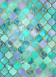 Decorative Pencil Tile Entrancing Cobalt Blue Aqua & Gold Decorative Moroccan Tile Pattern Decorating Design