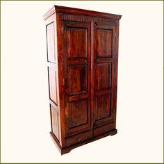 Rustic Wood 2 Storage Drawers Armoire Wardrobe Closet