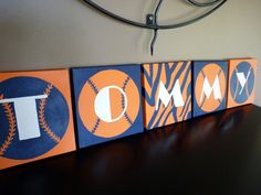 """The """"Tommy""""' PERSONALIZED 8x8 canvas painting for child's nursery playroom bedroom or bath (custom made for a Detroit Tigers baseball fan). $17.00, via Etsy."""