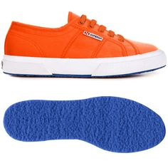 € 29.50 - 2750-COTUFLUO Superga 2750 shoe in fluo version: sports footwear in fluo color canvas for man and woman with upper in extrastrong, fully breathable pure cotton. Lining in cotton. Outsole made with coloured vulcanized natural rubber. Available in many fluo colours #superga #fluo #orange #blue #cotton #footwear