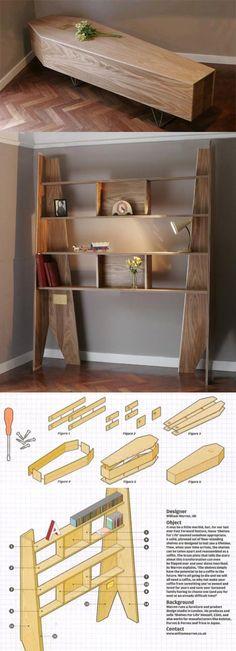 DIY bookshelf converts to coffin: http://www.cultofweird.com/death/coffin-shelf/