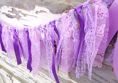 Lace and satin ribbon Garland  Birthday party, Lavender Purple Violet, shabby chic decor banner bunting baby shower girl boy wedding decor by Audumelj on Etsy