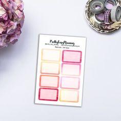 Watercolor half box / square stickers / Erin Condren vertical / ECLP