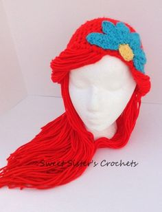 Crochet Ariel Wig Little Mermaid Hair by SweetSistersCrochets, $20.00