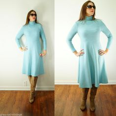 VINTAGE 1970s Checkaberry Powder Blue WOOL Long Sleeve Day Dress Small VTG #Checkaberry