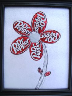 Soda Can art with stitching $24
