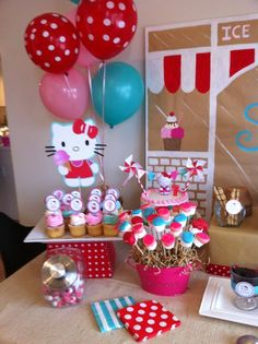 Hello Kitty party...wish I hadn't done it already, these ideas are adorable. Maybe the kids have forgotten......even though there was a bouncy house with a huge Hello Kitty above the door, and a giant candy bar. Surely they've forgotten, lol... That's nothing in this day and age of ridiculously over-the-top kid's bashes..which, shamefully, I love to partake in. *Hangs head*