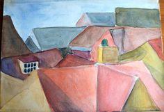 Roofs - Tegltage - Watercolor Copenhagen 1967 - Claus Ib Olsen
