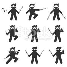 ninja icon set royalty-free stock vector art