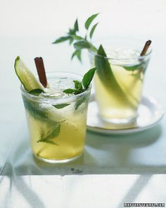 For a bracing drink, Lillet -- an aperitif made with wine -- is shaken with basil, gin, orange juice, and tonic. Basil Cocktail, Cocktail Drinks, Cocktail Recipes, Alcoholic Drinks, Cocktail Parties, Beverages, Cucumber Cocktail, Cocktail Shaker, Basil Gimlet