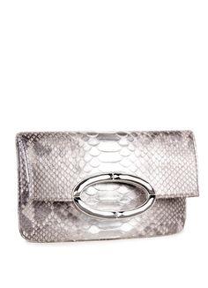 Python Convertible Clutch, Silver Wash