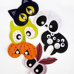 For a quick disguise make these cute halloween masks for kids - free printable templates
