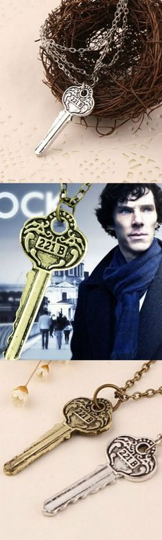 Detective Sherlock Holmes Key Room 221B Necklace! Click The Image To Buy It Now or Tag Someone You Want To Buy This For.  #SherlockHolmes