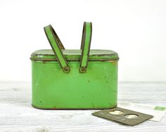 Vintage Lunch Pail Storage Tin / Green Tin Box by havenvintage, $22.00