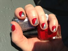 Red and Silver - short nails