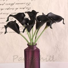 50pcs White Cally Lily Real Nature Touch Flowers for DIY Bridal Bouquet Wedding Bouquet with Scent high quality (KC58 Black) ** Learn more by visiting the image link.