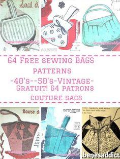 GRATUIT 64 Patrons de SACS Vintage à coudre! Free patterns bags!