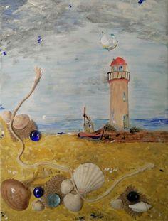 Dipinto su tela (colori acrilici) - applicazioni in rilievo