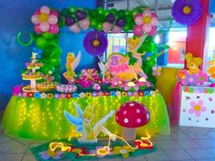 Tinkerbell Party Theme, Tinkerbell Birthday Cakes, Butterfly Birthday Party, Fairy Birthday Party, Baby 1st Birthday, 1st Birthday Parties, Festa Thinker Bell, Barbie, Baby Party