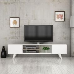 Details about dore tv stand media console entertainment table wood cabinet - tv table / white Modern Entertainment Center, Entertainment Table, Tv Stand Lights, Tv Storage Unit, White Tv Unit, Contemporary Tv Stands, Tv Unit Decor, Chicago Furniture, Modern Tv