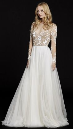 Hayley Paige bridal gown - Rosewater long sleeve A-line bridal gown, illusion floral beaded bodice with bateau neckline and low open back, layered English net circular skirt. A Line Bridal Gowns, A Line Gown, Bridal Dresses, Long Wedding Dresses, Wedding Gowns, Ivory Wedding, Tulle Wedding, Wedding Outfits, Wedding Attire