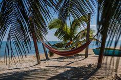 Hopkins Bay Belize. Hamocs on the beach.