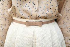 White Skirt + Bow Belt