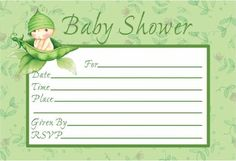 """Want to get the word out about a sweet baby shower? Sweet Pea Invitations feature the adorable baby in a peapod with green stripes design. The die cut invitations say """"Baby Shower"""" and have room for all the particulars like time, date, place, given by and Baby Shower Supplies, Baby Shower Favors, Baby Shower Invitations, Custom Invitations, Party Supplies, Shower Party, Invites, Cute Baby Shower Ideas, Baby Shower Themes"""