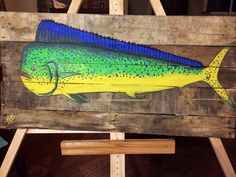 Mahi Mahi Dolphin painting on wood art by AnglerAddict on Etsy