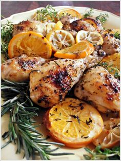 Herb and Citrus Oven Roasted Chicken ~ This sounds like the best Herb/Citrus Chicken Oven Roasted Chicken, Roast Chicken Recipes, Rosemary Chicken, Crusted Chicken, Stuffed Chicken, Recipe Chicken, Fried Chicken, Comida Siciliana, Cooking With Fresh Herbs