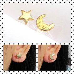 Moon Star Clip-on earrings C49S Non Pierced by boadNNcraft on Etsy