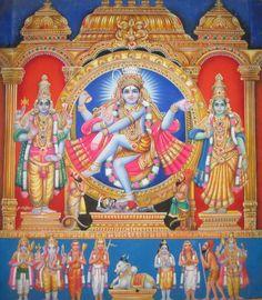 Shiva Nataraja, Vishnu and Shivakamasundari, a representation of Chindambaram temple