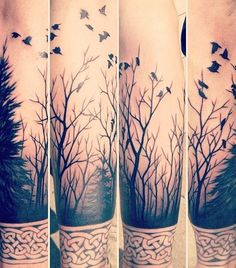 cool forest tattoo on sleeve