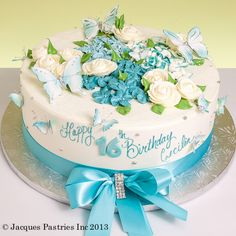 Flights of Fancy Cake, blue butterflies