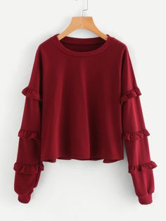 SheIn offers Tiered Frill Trim Drop Shoulder Sweatshirt & more to fit your fashionable needs. Girls Fashion Clothes, Teen Fashion Outfits, Modest Fashion, Girl Fashion, Girl Outfits, Fashion Design, Casual Dresses, Casual Outfits, Cute Outfits