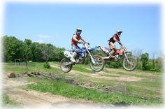 Son & Friend on dirt bikes