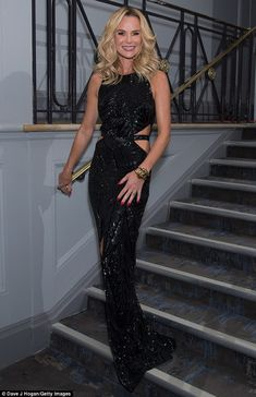 Shimmering style: Arriving at Grosvenor House in London for the ceremony, the 45-year-old Britain's Got Talent judge ensured all eyes were on her thanks to her skin-tight dress