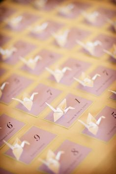 origami place cards ... but different Japanese paper in our colour scheme?