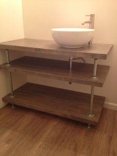 Butcher block and galvanized pipe bathroom vanity. Rustic industrial